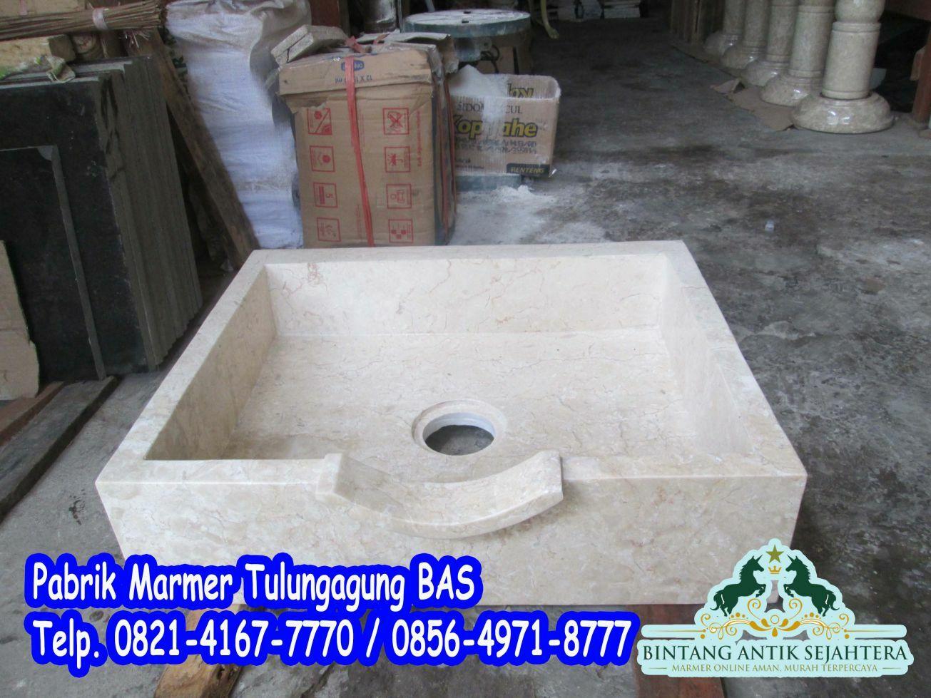 Wastafel Kotak Marmer Lubang Tengah